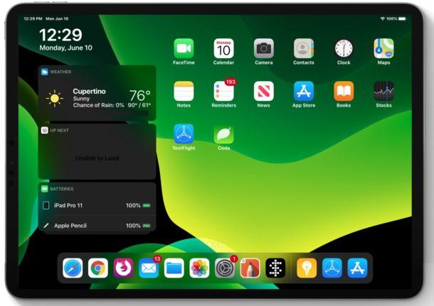 Screenshot of iPadOS 13 home screen