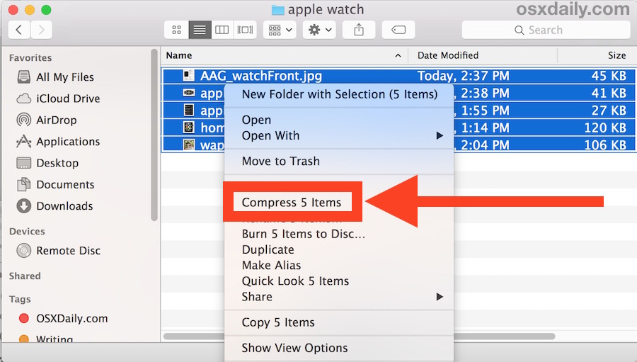 How to    zip files to a compressed archive on Mac OS X