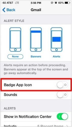 Disable red badge app icons in iOS