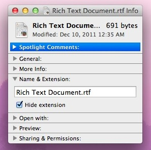 Show single file extension in Mac OS X