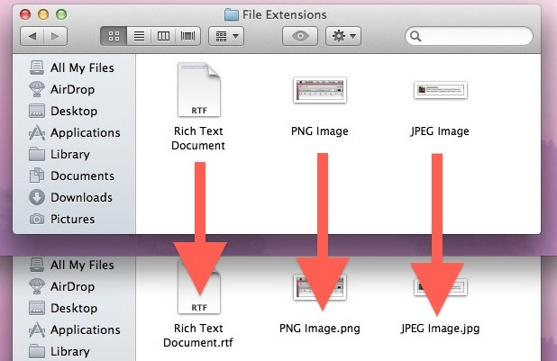 File extensions shown in Mac OS X