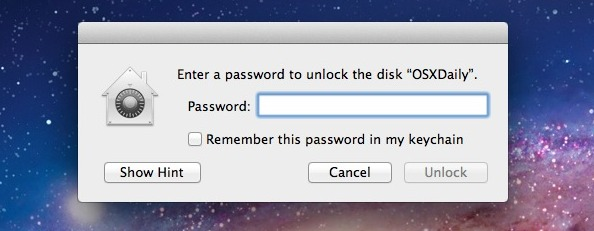 Enter the password to mount the drive