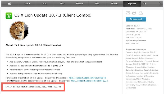 SHA1 Checksum on the Apple Downloads page