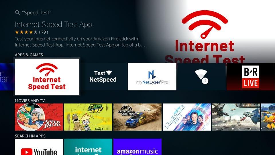 Click the Internet Speed Test app