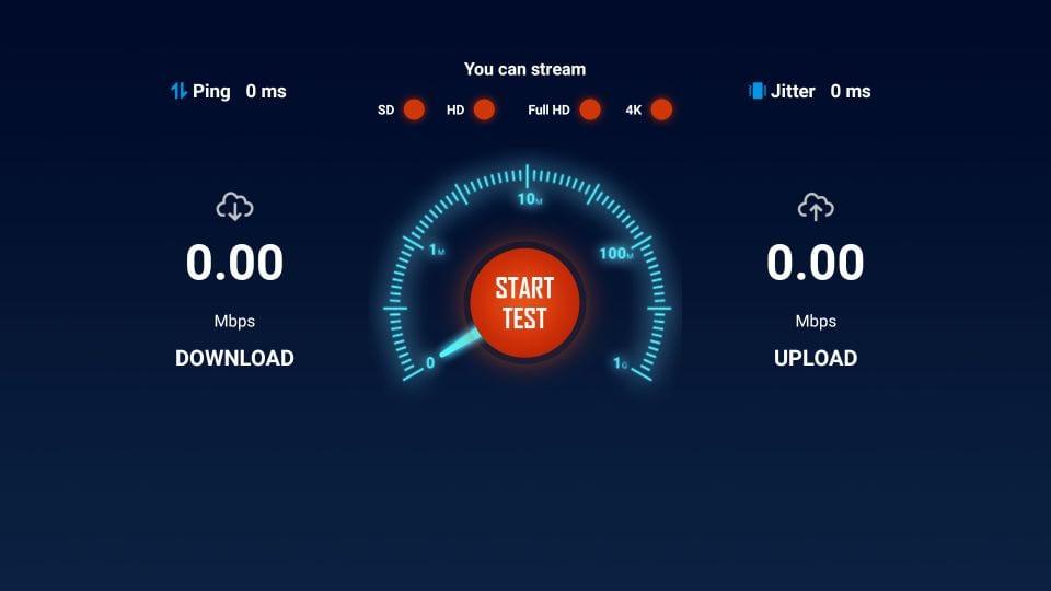click on start test to test internet speed on firestick