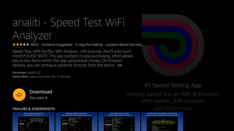 download internet speed test application for Amazon firestick