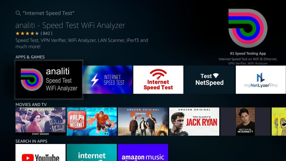 analiti wifi speed test app on firestick