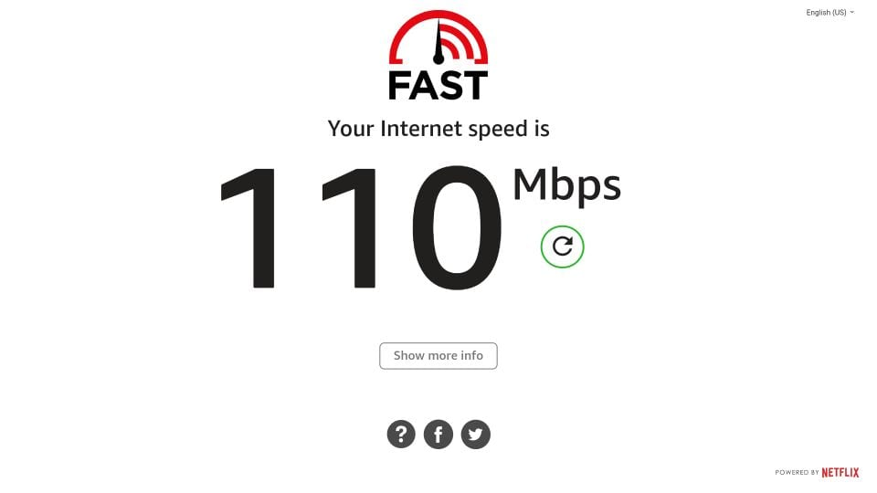 internet speed test results on fire TV stick