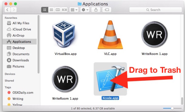 Delete Xcode from Mac OS X