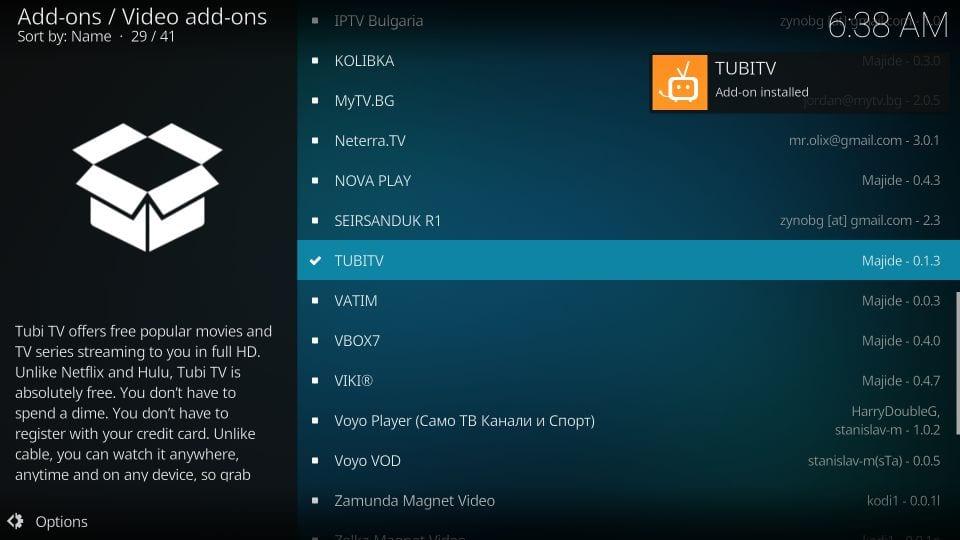 download tubi tv kodi