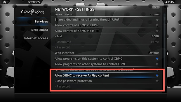 Enable AirPlay in XBMC