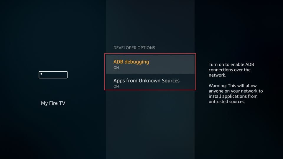 enable adb debugging and apps from unknown sources