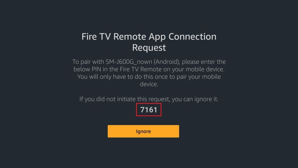 fire TV remote pin request