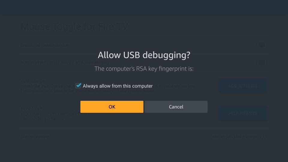 allow usb debugging