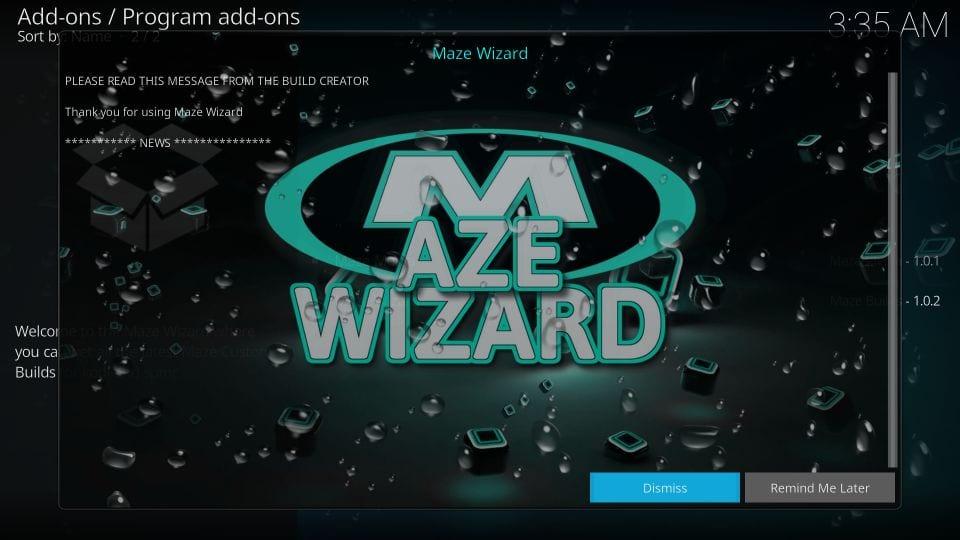 Delete pop-ups maze wizard