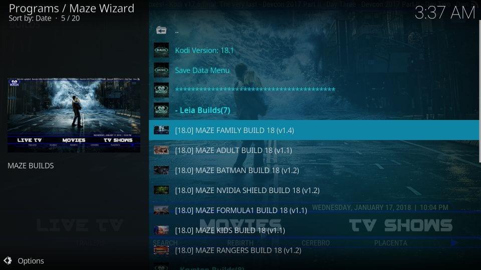 Download the maze build on kodi