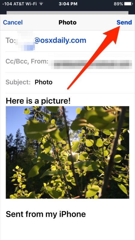 Send the email with photo attachment in Mail for iOS