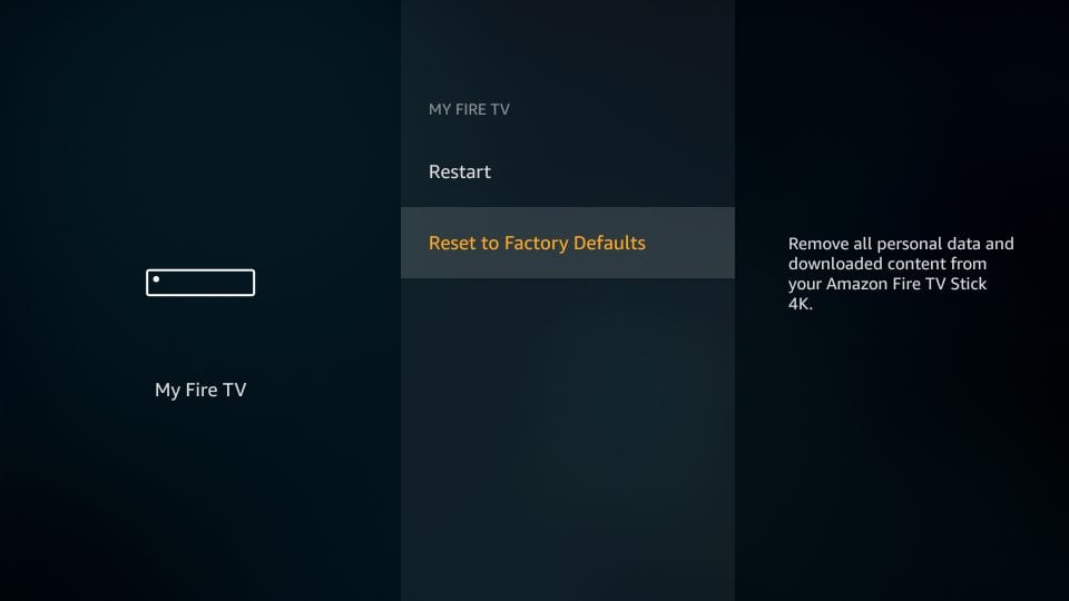 On factory settings, click reset factory settings on firestick