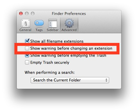 Stop the file extension change warning in OS X Finder