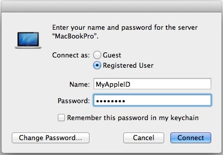 Connect to a Mac server with an approved Apple ID