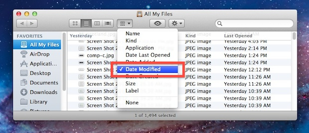 Find files from yesterday and work in Mac OS X