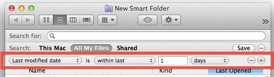 Date of last change Smart Folder