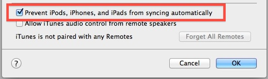 Turn off automatic syncing in iTunes
