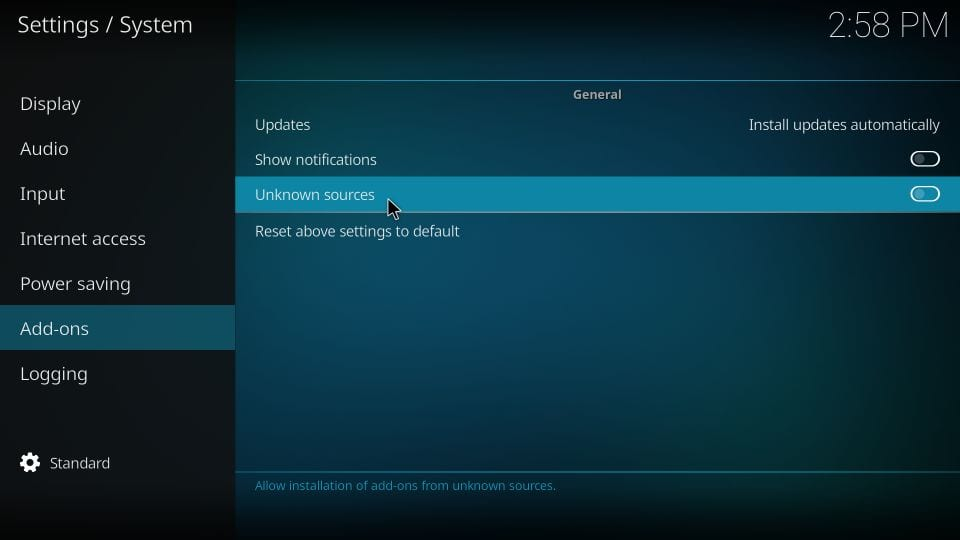 enable kodi unknown sources for third parties addon Installation