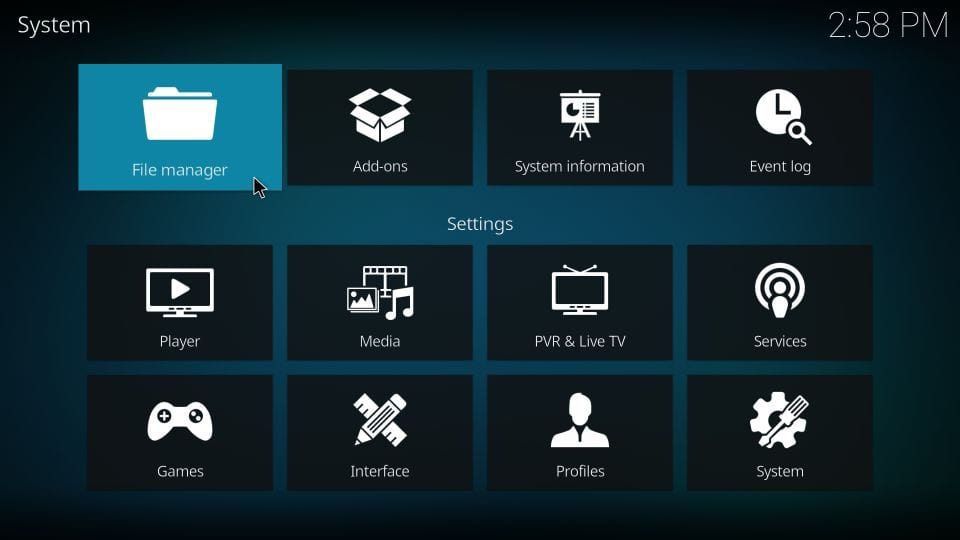 file management settings for kodi