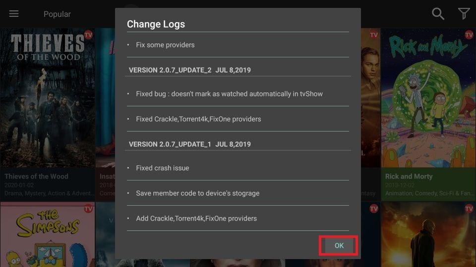 movie app change log