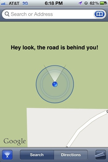 Use the Maps app as a compass to see which direction you're facing from an iPhone or iPad