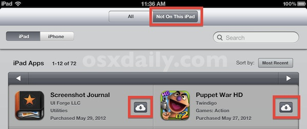 Download and reinstall apps in iOS