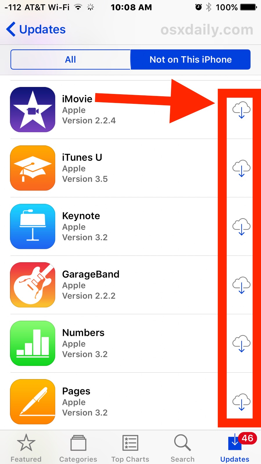 Re-download previously purchased apps that are not on the iOS device