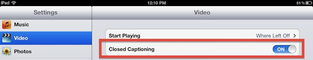 Enable video captioning in iOS