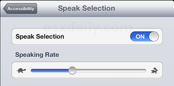 Turn on Speak Selection in iOS
