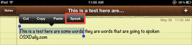 Speak selected text in iOS with text-to-speech engine