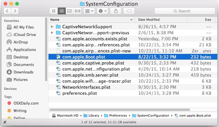 Path bar visible in Mac OS X Finder