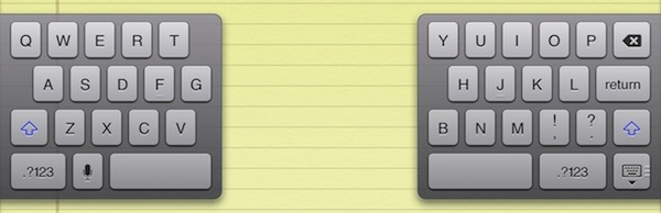 Split keyboard for iPad