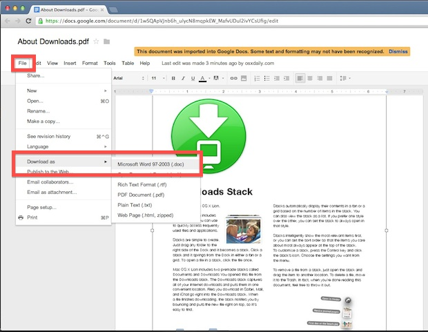 Convert PDF to DOC for free with Google Docs