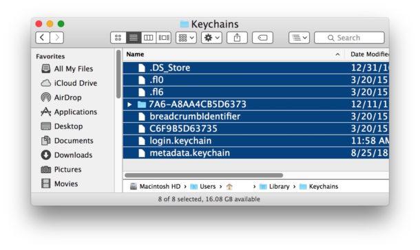 Location of keychain data on Mac OS