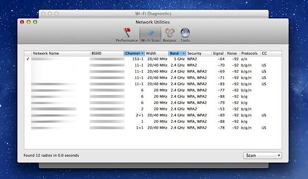 Wi-Fi scanner in Mac OS X Mountain Lion