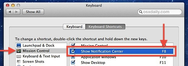 Shortcut to open Notification Center