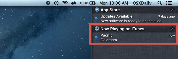 iTunes Song Warning in Notification Center in Mac OS X