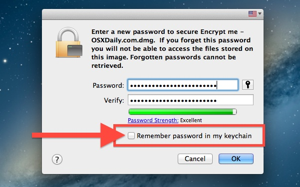Set password protection for the encrypted folder in Mac OS X