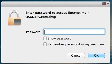 A password is required to access the encrypted folder in Mac OS X