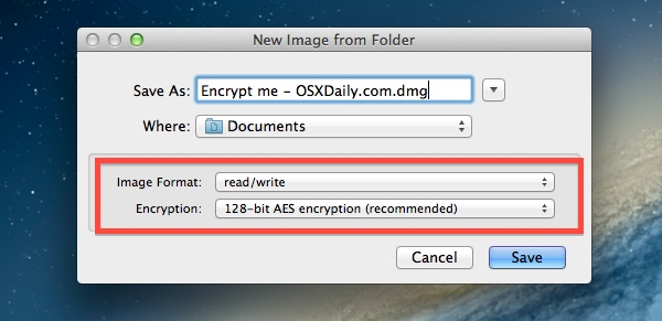 Create a new encrypted image from a folder in Mac OS X