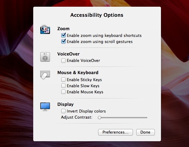 Accessibility Options panel in Mac OS X