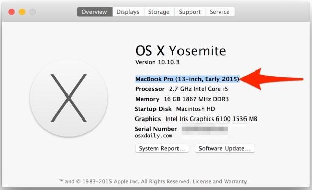 Find Mac model hardware year built