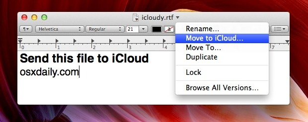 Move a file to iCloud from Mac OS X