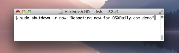 Restart Mac OS X from the command line